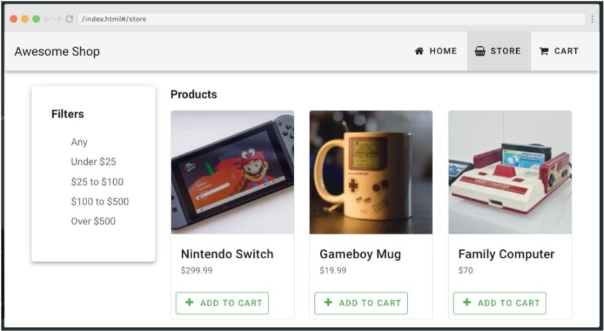 Vuetify web store page
