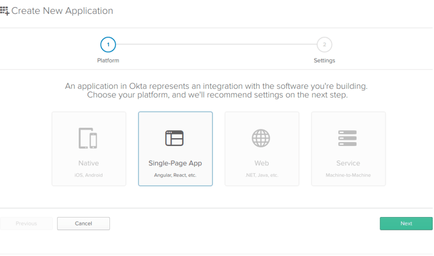 Create application wizard with Single Page App selected.