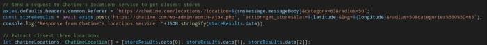 TypeScript / Axios / Chatime Location API