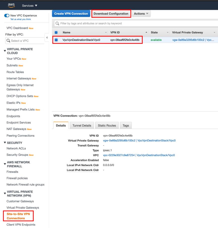 AWS download VPN configuration