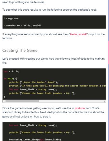Highlighted code blocks