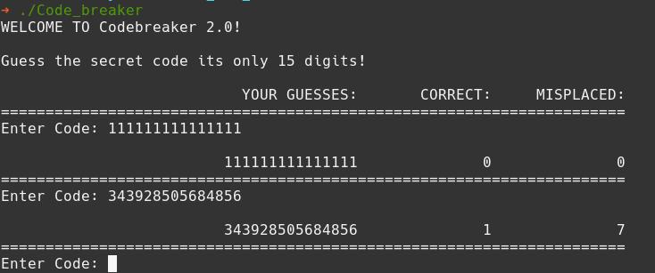 Code breaker random guess