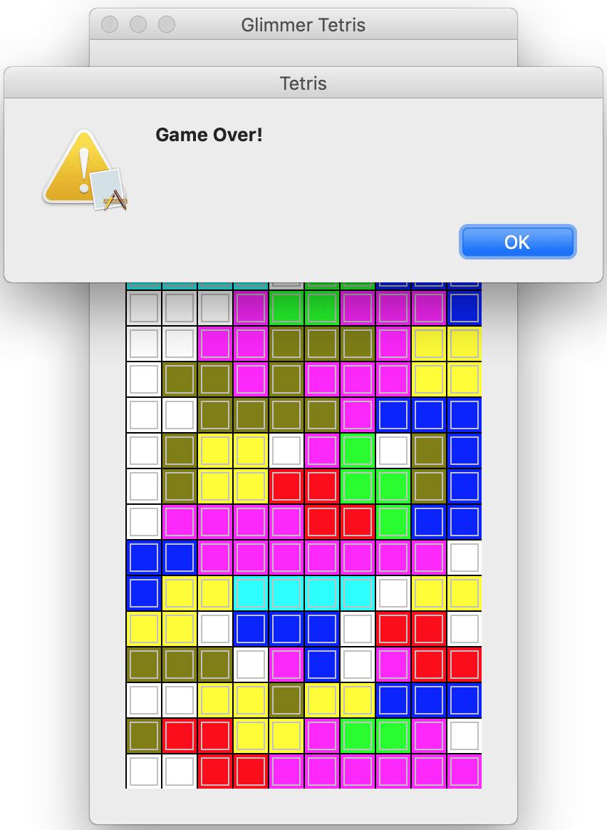 Glimmer Tetris Game Over