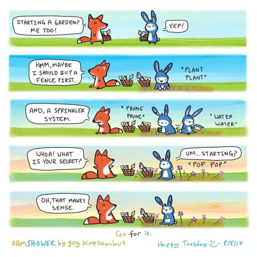 Bunny and a fox trying to start a garden and the fox realises in the end that starting is the first thing to do.