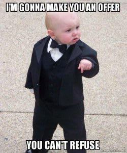 """child in a tuxedo captioned """"I'm going to make him an offer he can't refuse"""""""