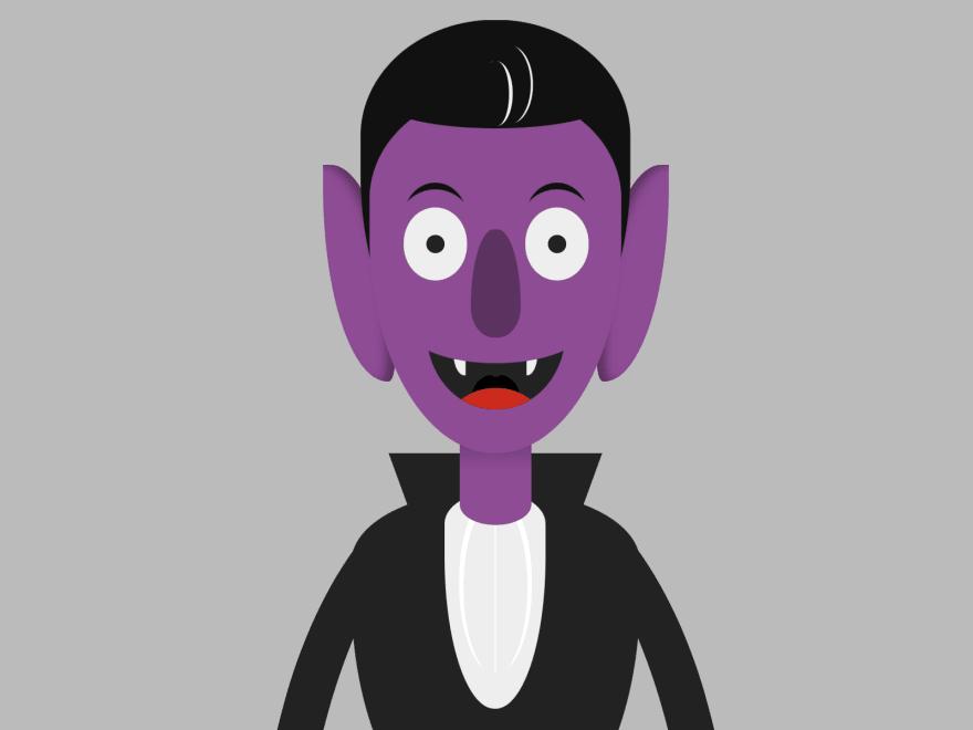 Cartoon of Dracula smiling