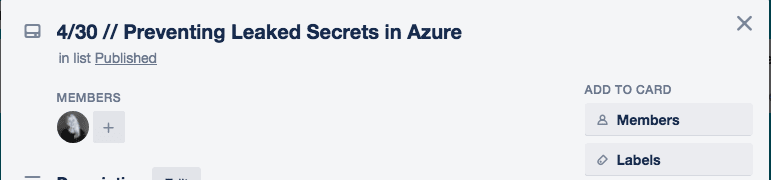 Example card with Emily Freeman author, 4/30 Preventing Leaked Secrets in Azure