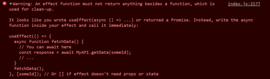 a helpful error message in React