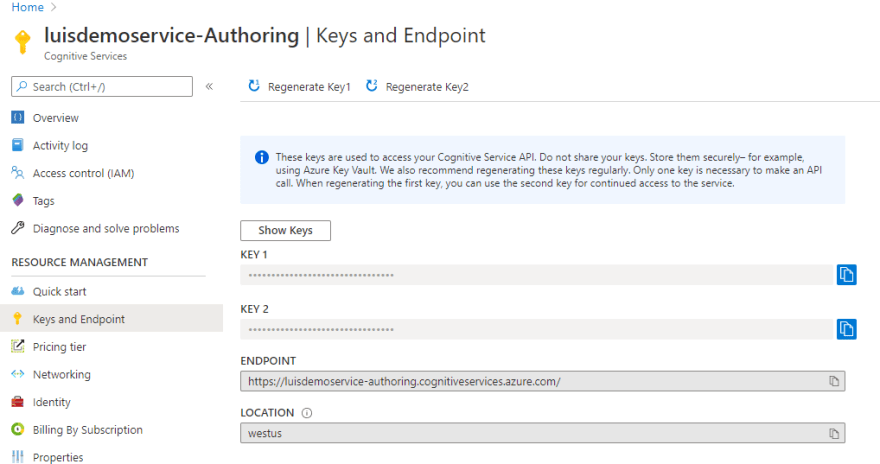 LUIS Authoring Keys and Endpoint for Bot Framework Composer