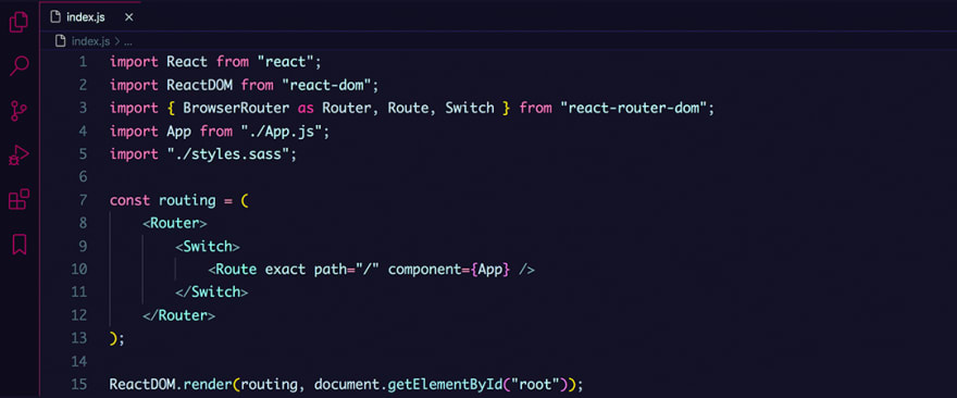 React code snippet with the Radical theme