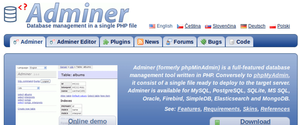 Cover image for Adminer! A useful and very simple alternative to PhpMyAdmin