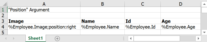 Input template with position argument