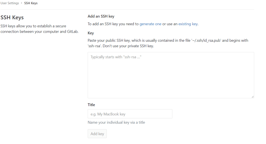 How GitLab SSH Keys page looks
