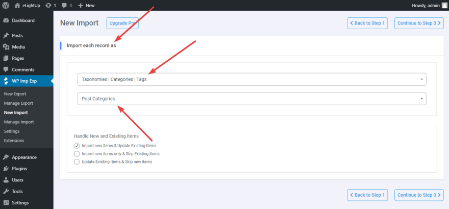 Choose Post categories to import the categories' data.