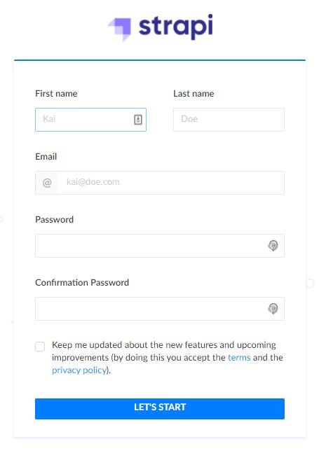 Create administrator account Strapi
