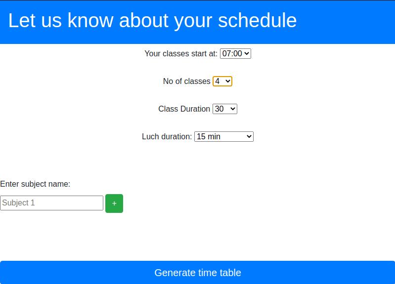 Time table generator running