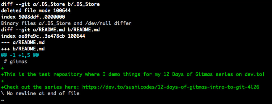 screenshot of my terminal with the results of the git diff command