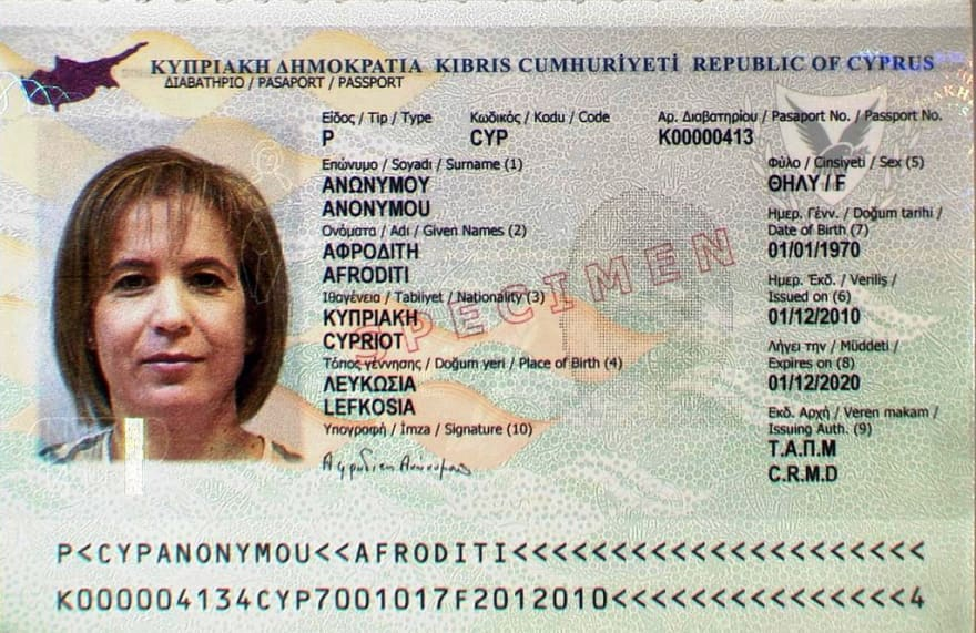 Cyprus Passport used in this example