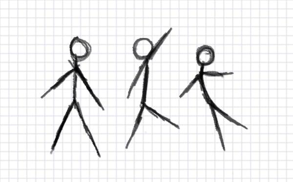 Three stick figures