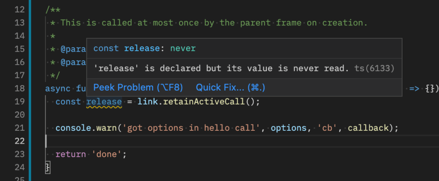 VSCode showing a warning about an unused variable