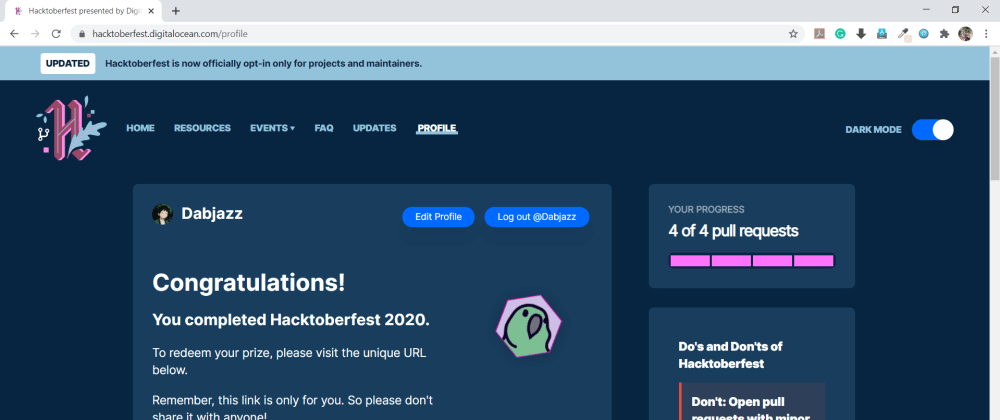 Cover image for I completed HacktoberFest2020