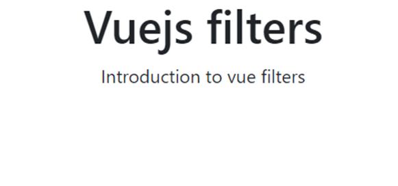 Vuejs Filters