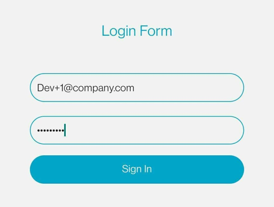 Example of a login screen on a mobile phone