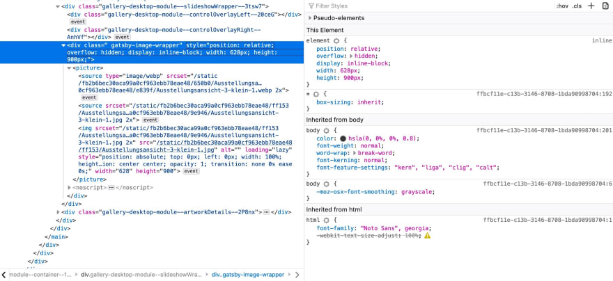 A peak into the generated markup with Firefox devtools