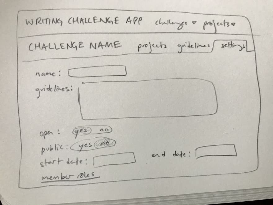 A pencil sketch of a contest settings page on the writing challenge app, featuring a list of editable features such as name, guidelines, start date, end date, and member roles.