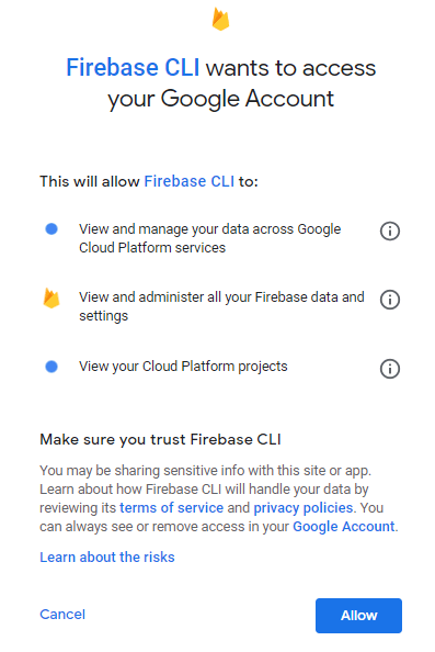 Firebase - New Project - grant Google access.