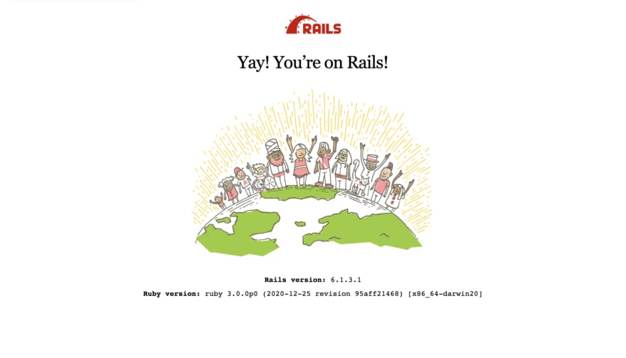 A screenshot of the Rails welcome page