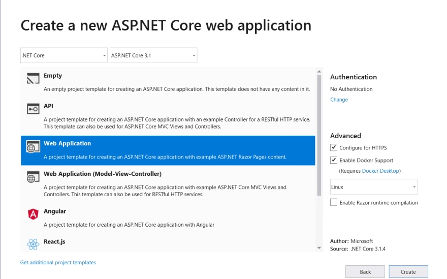 Create a new web Application project