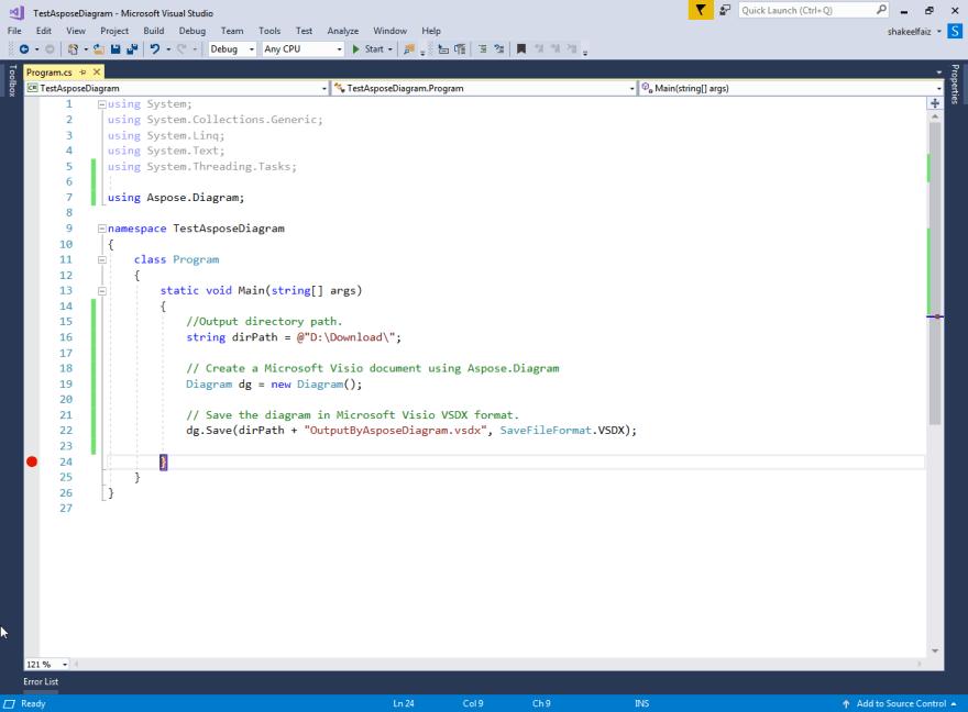 Sample Code to Create Microsoft Visio Document using Aspose.Diagram.