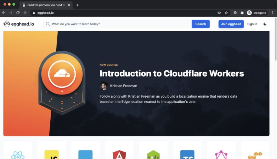 screenshot of egghead home page with cloudflare workers banner