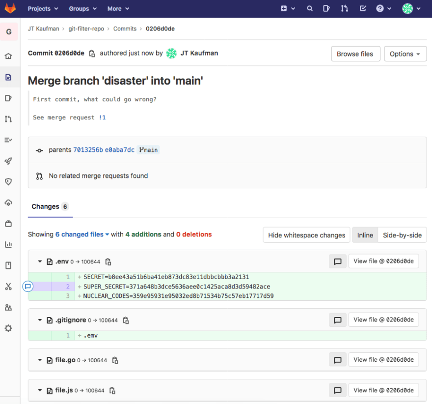 Merge commit showing our secrets in .env