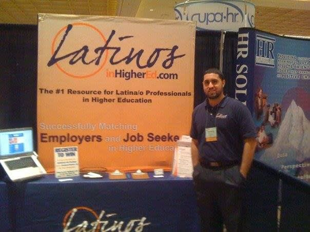 Picture of both LatinosinHigherEd.com at a trade show