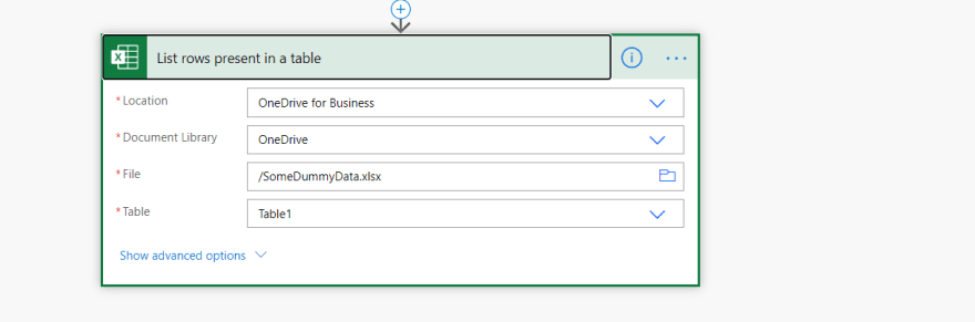 Select the excel file from OneDrive