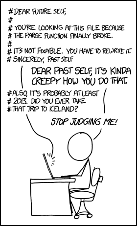 XKCD, writing code comments to your future self
