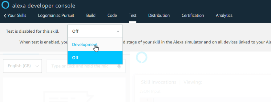 Setting the Alexa skill testing to development
