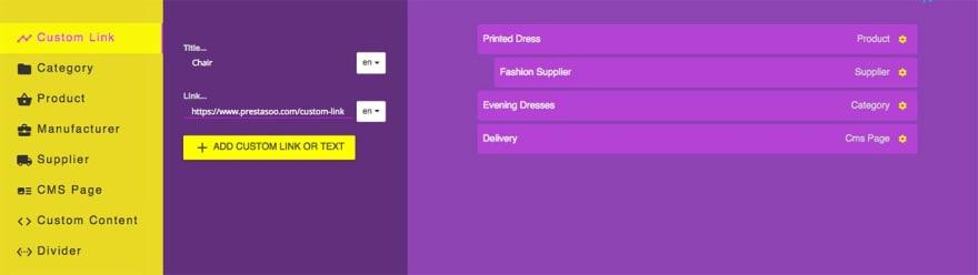 Custom link - Drag and Drop Prestashop Menu