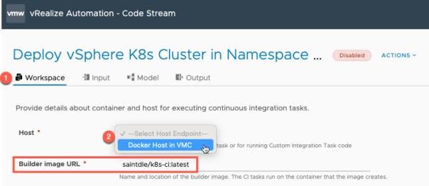 vRA Deploy Tanzu Guest Cluster - Code Stream - Pipeline - Deploy Tanzu Cluster - Configure Workspace - Set docker host