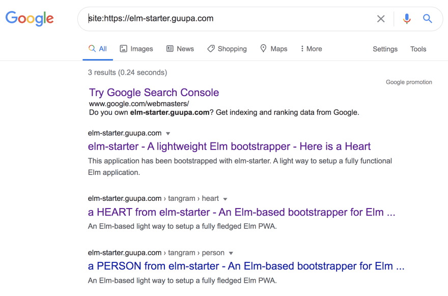 Google indexing the elm-starter demo