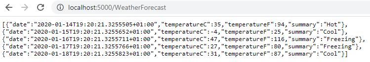WeatherForecast results in Chrome