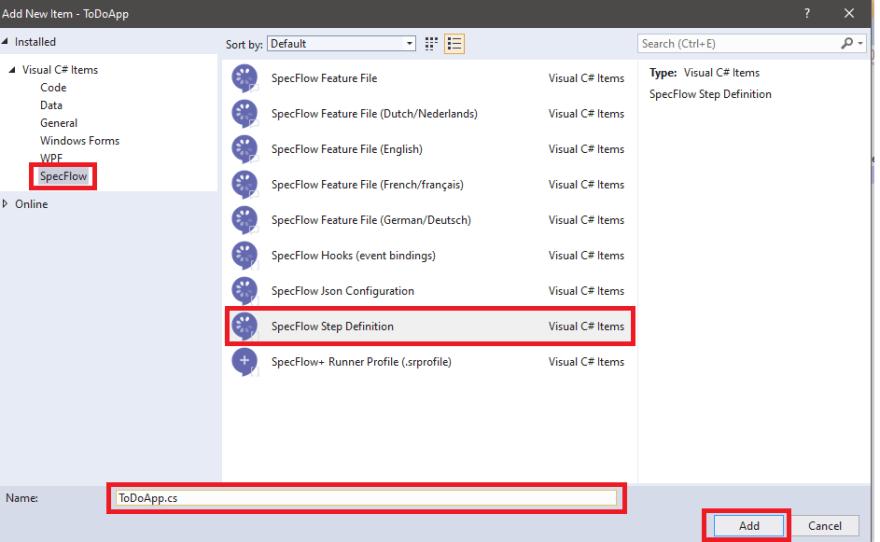 StepDefinitions folder