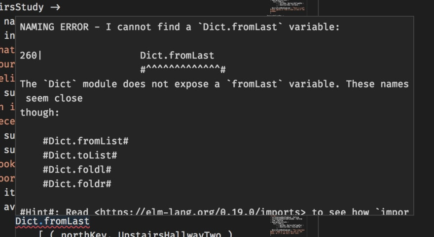 An image showing the Elm compiler helpfully suggesting that Dict.fromLast should be Dict.fromList