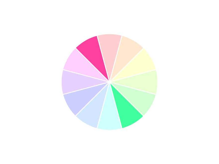 12 colors in a circle/wheel with two opposite colors highlighted