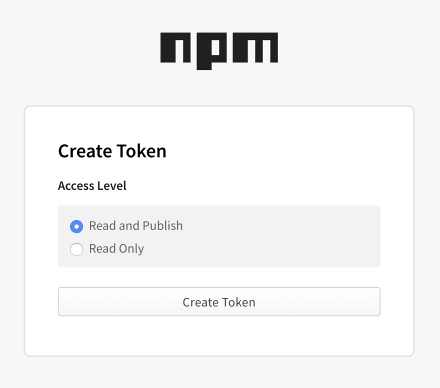npm form to create a new token with the read and publish option checked