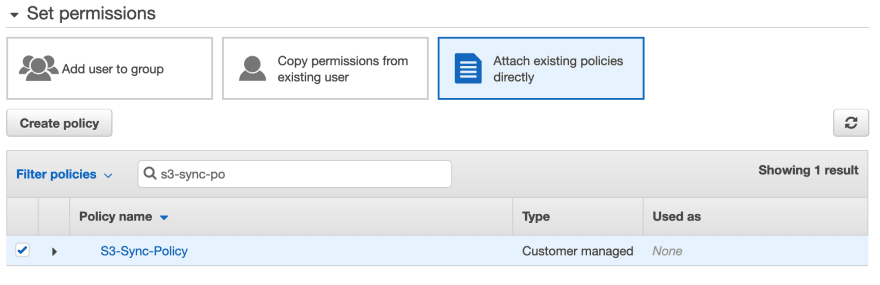 The IAM Add User Permission screen. The search feature has been used to find the policy created previously.