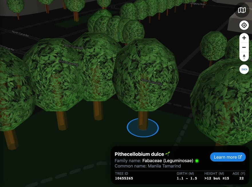 ExploreTrees.SG 3D realistic trees — highlighted tree and zoomed in