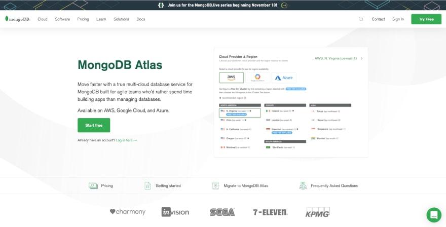 Create an account at MongoDB Atlas